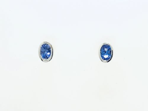 Tanzanite White Gold Oval Stud Earrings